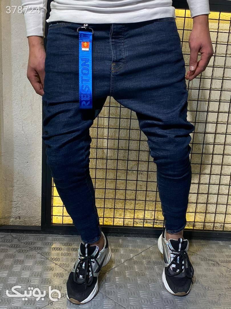 شلوار جین فاق بلند  آبی شلوار مردانه