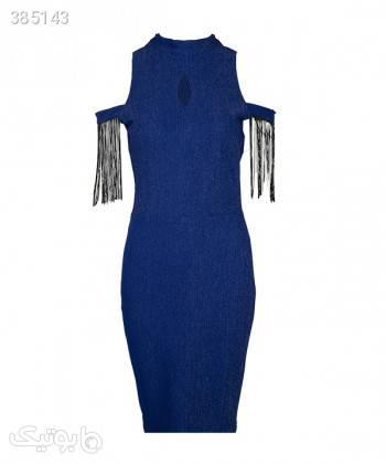 پیراهن مجلسی زنانه لمه ریش دار سرژه Serge آبی لباس  مجلسی