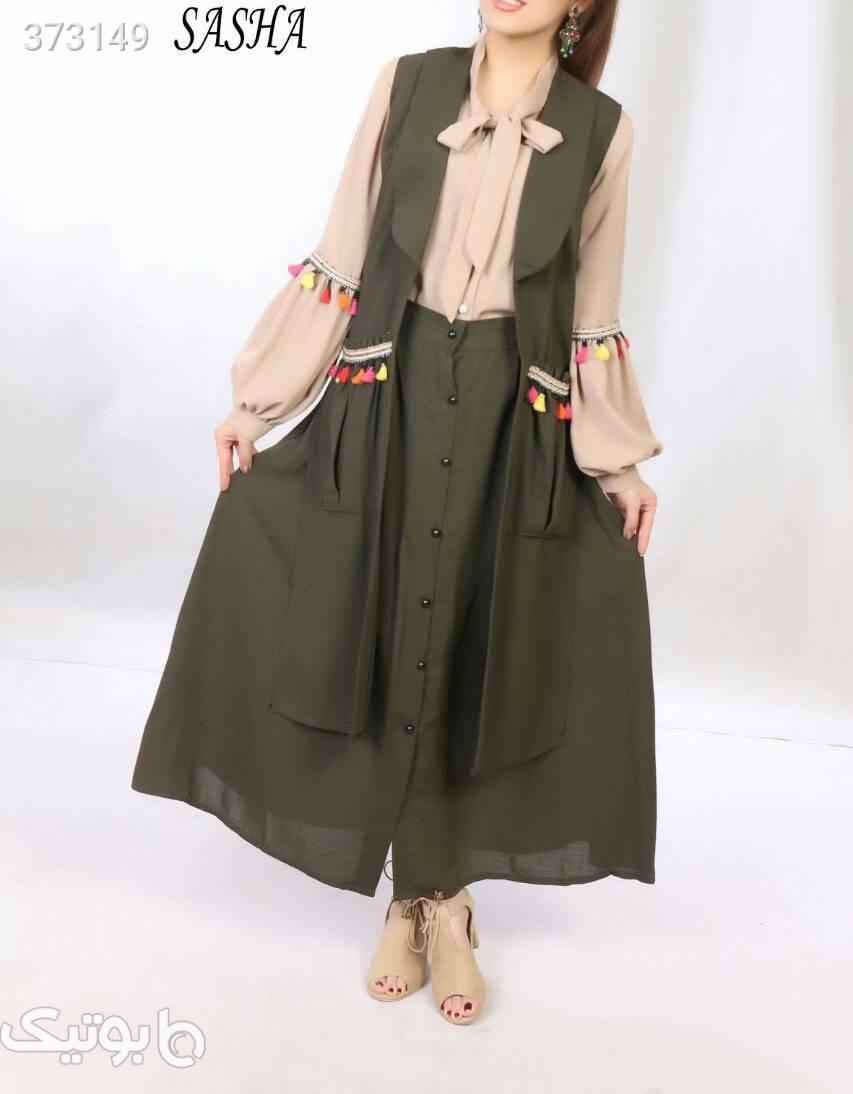 مهردخت   جنس شانتون طرح اندونزی سبز لباس  مجلسی