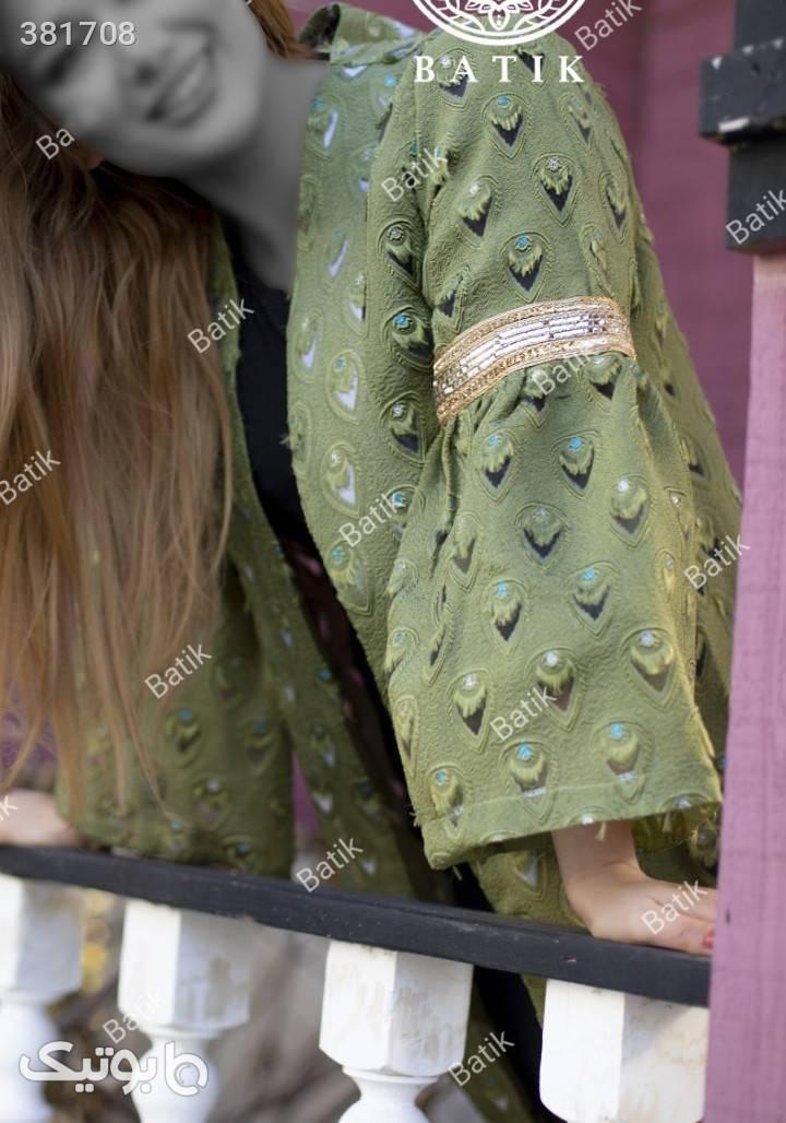 مانتو عیدانه شیک مدل طاووسی نسترن سبز مانتو