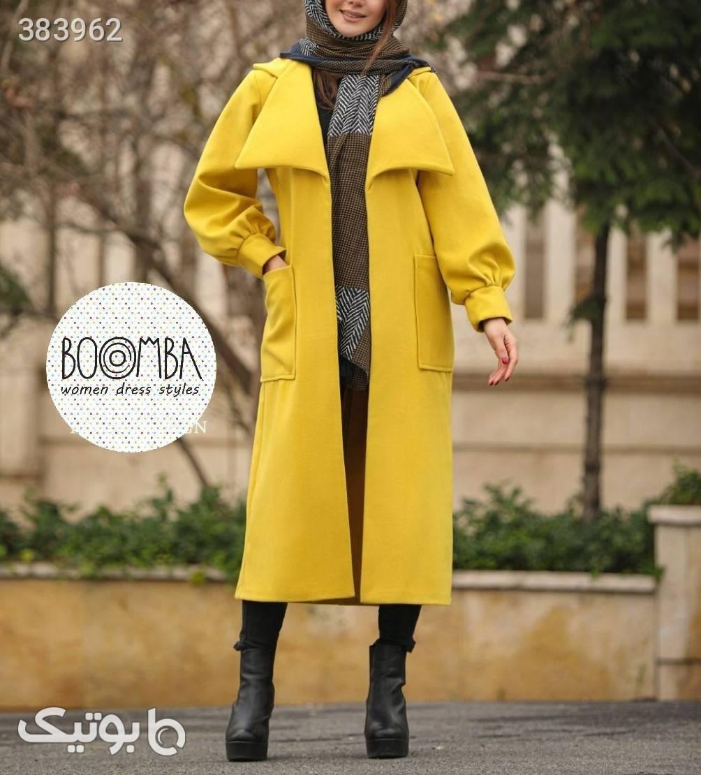 پالتو یقه دار فوتر براش درجه یک زرد پالتو زنانه