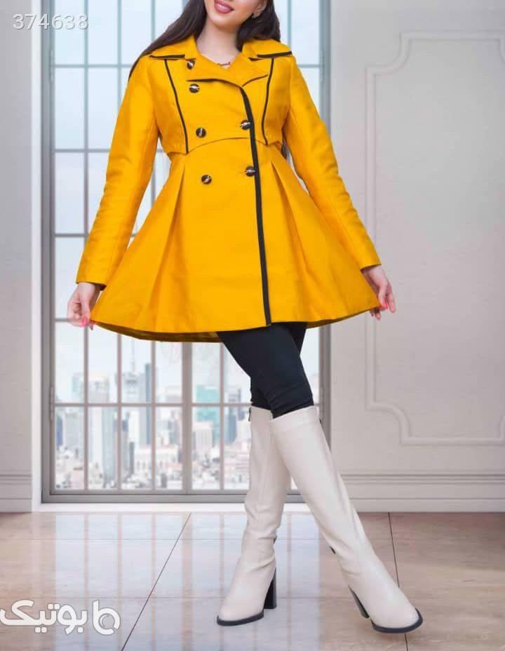 باروني وارداتي شيك و جدید  زرد کاپشن و بارانی زنانه