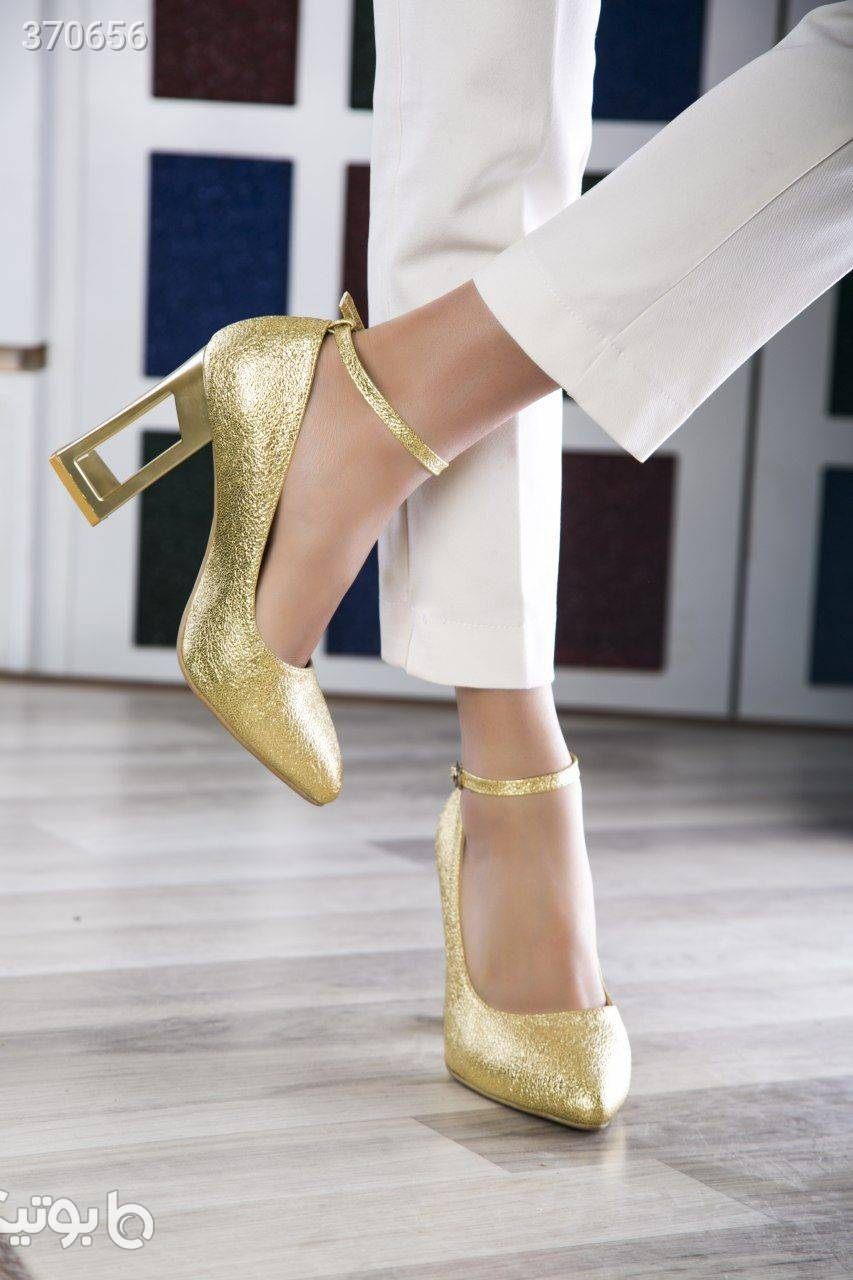 کفش مجلسی کد 413 پاشنه 7 سانت زرد كفش زنانه