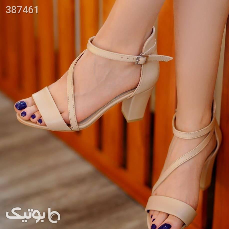 کفش پاشنه کرم كفش زنانه