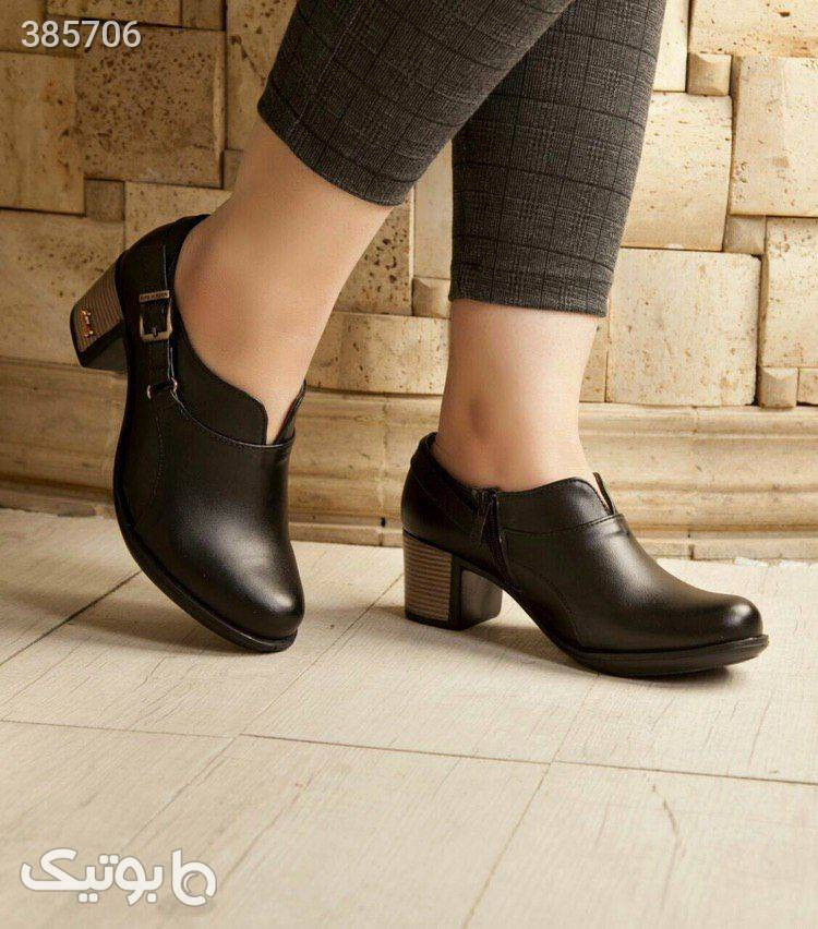 کفش چرم وفاق مشکی كفش زنانه