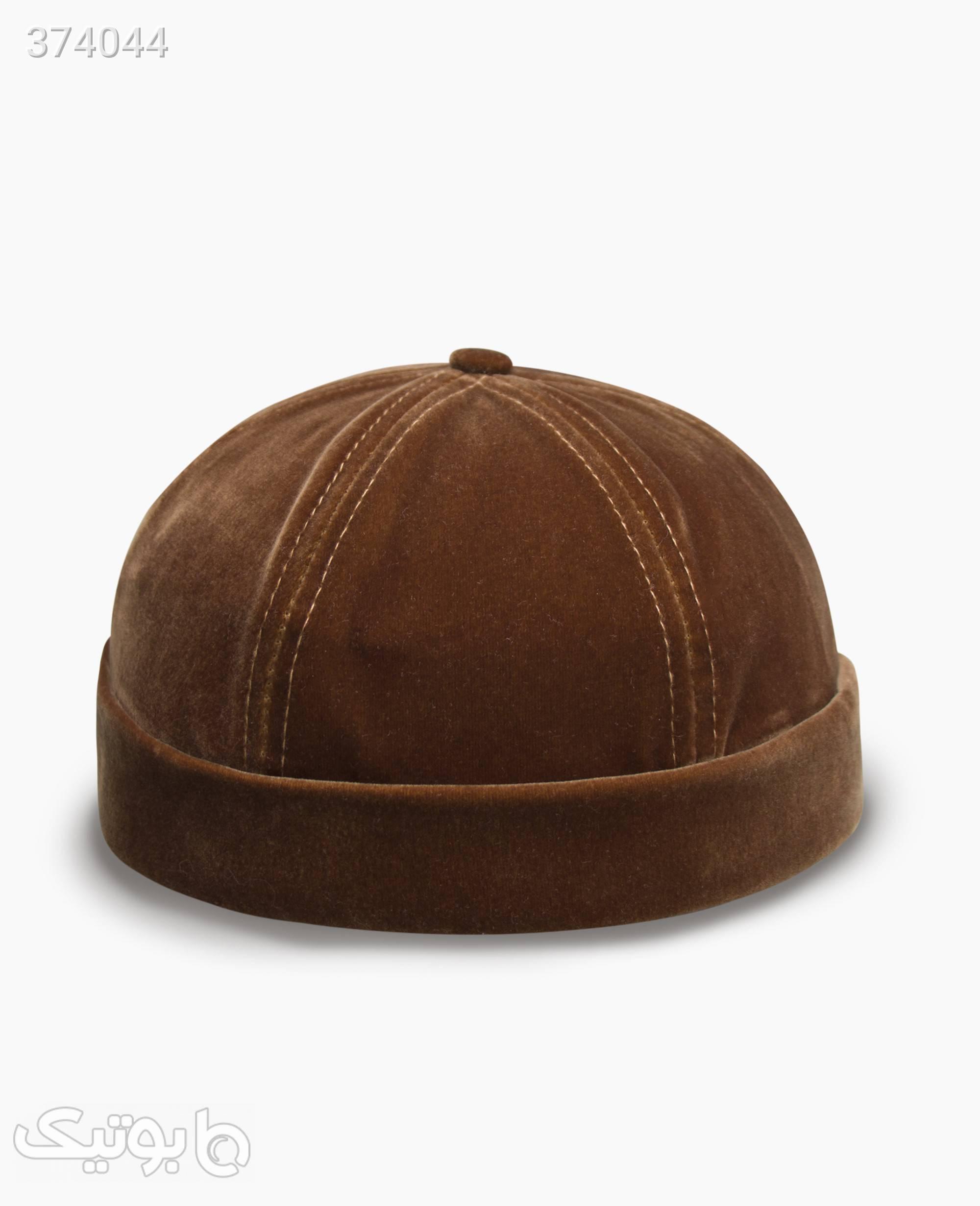 کلاه بدون نقاب مخمل کد 9854 قهوه ای کلاه و اسکارف