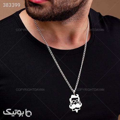 گردنبند مردانه رخ نقره ای گردنبند