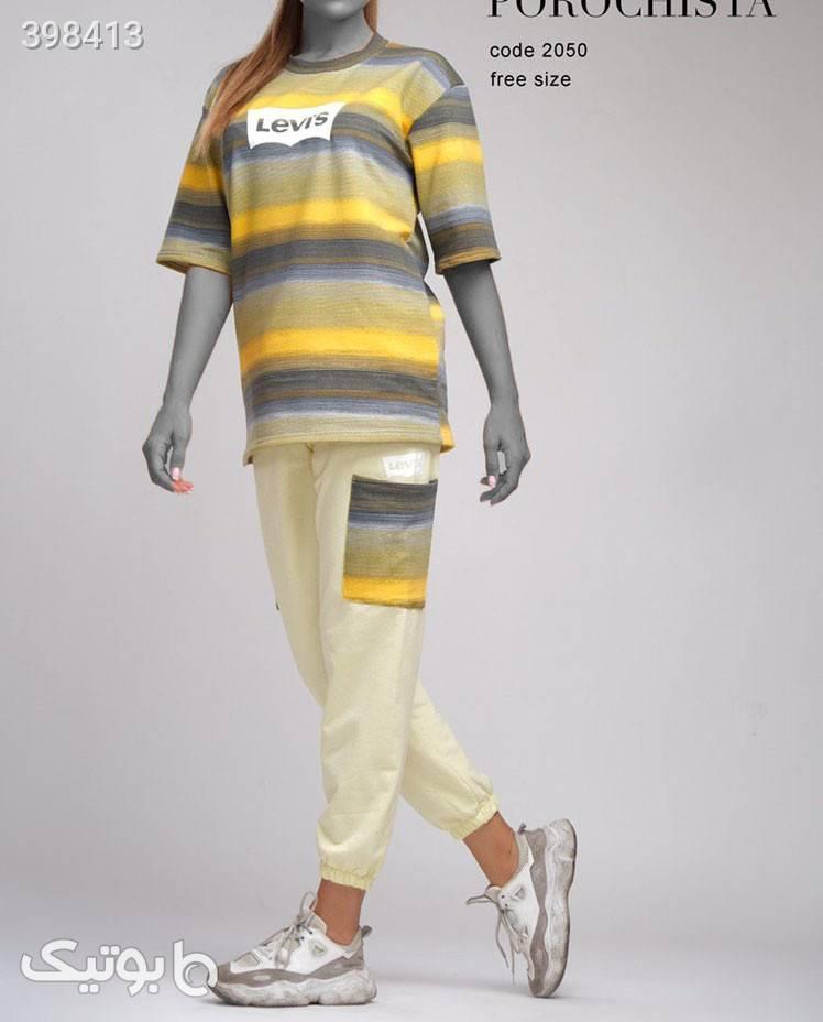 ست تیشرت شلوار شیک مدل بولگارى زرد تی شرت زنانه