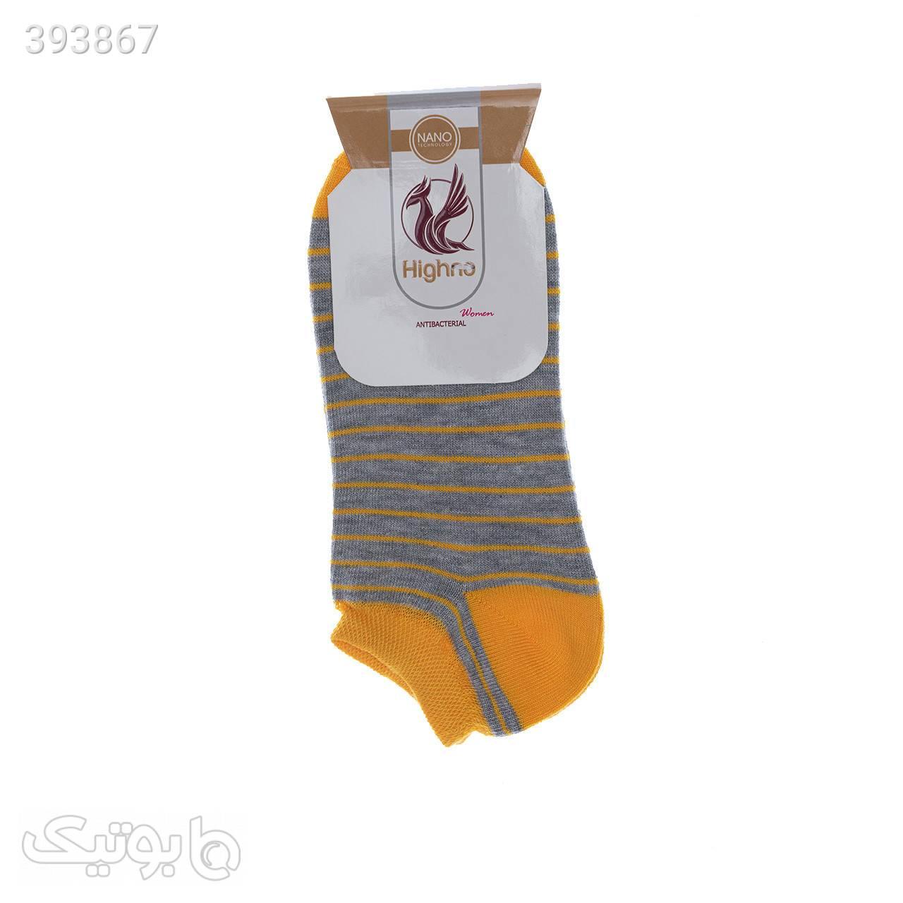 جوراب آنتی باکتریال زنانه مدل 0709-1240 زرد جوراب و پاپوش