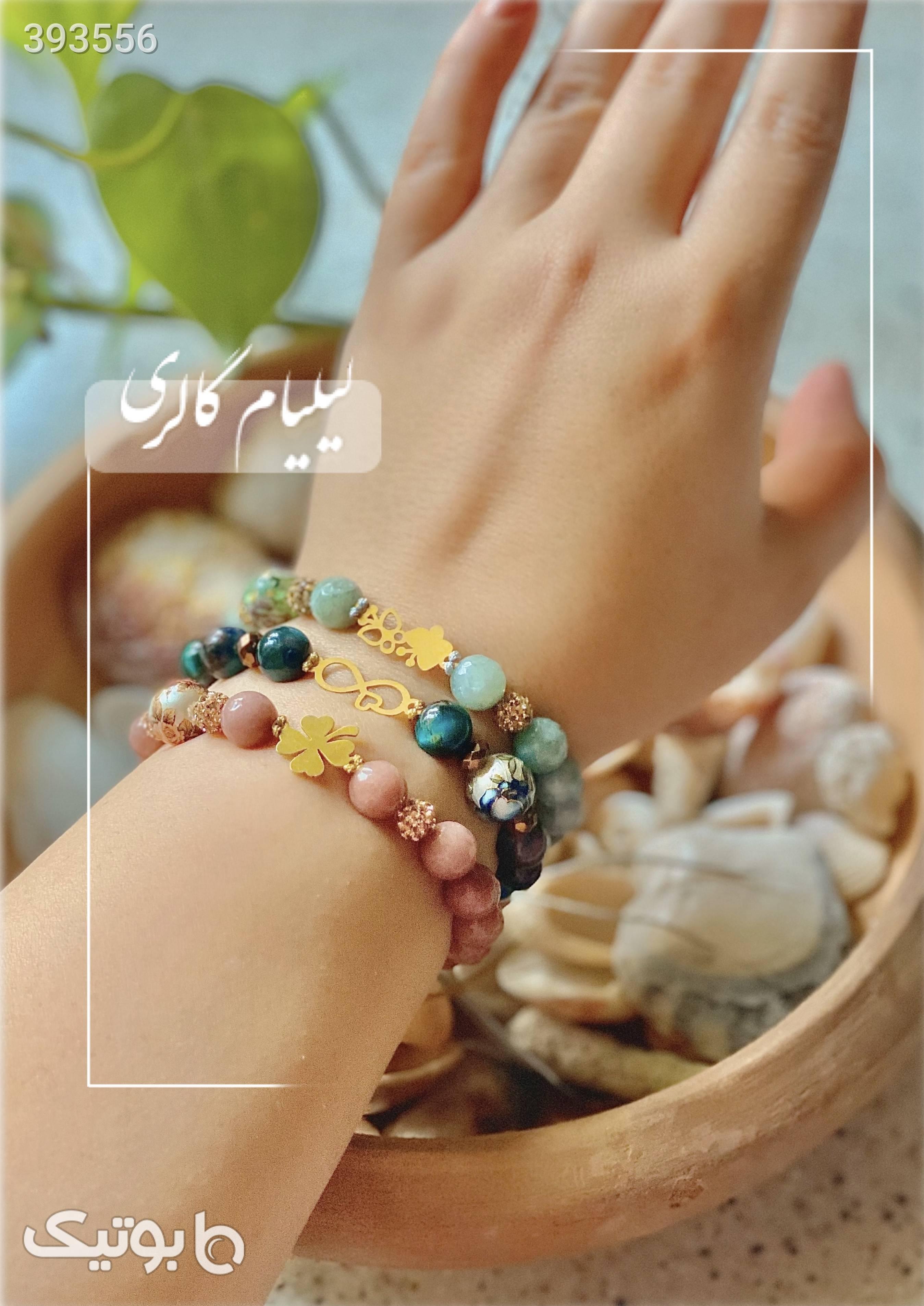 دستبند طلا و سنگ آبی دستبند و پابند