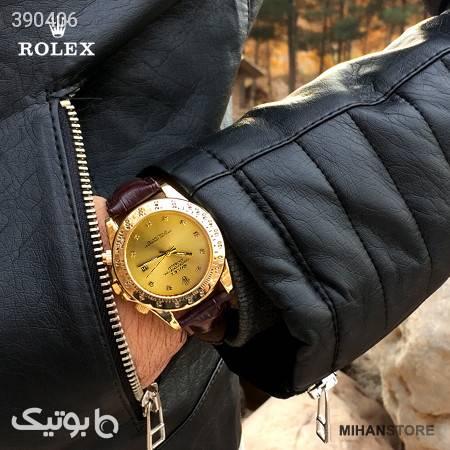 ساعت بند چرم Rolex مدل Winner زرد ساعت