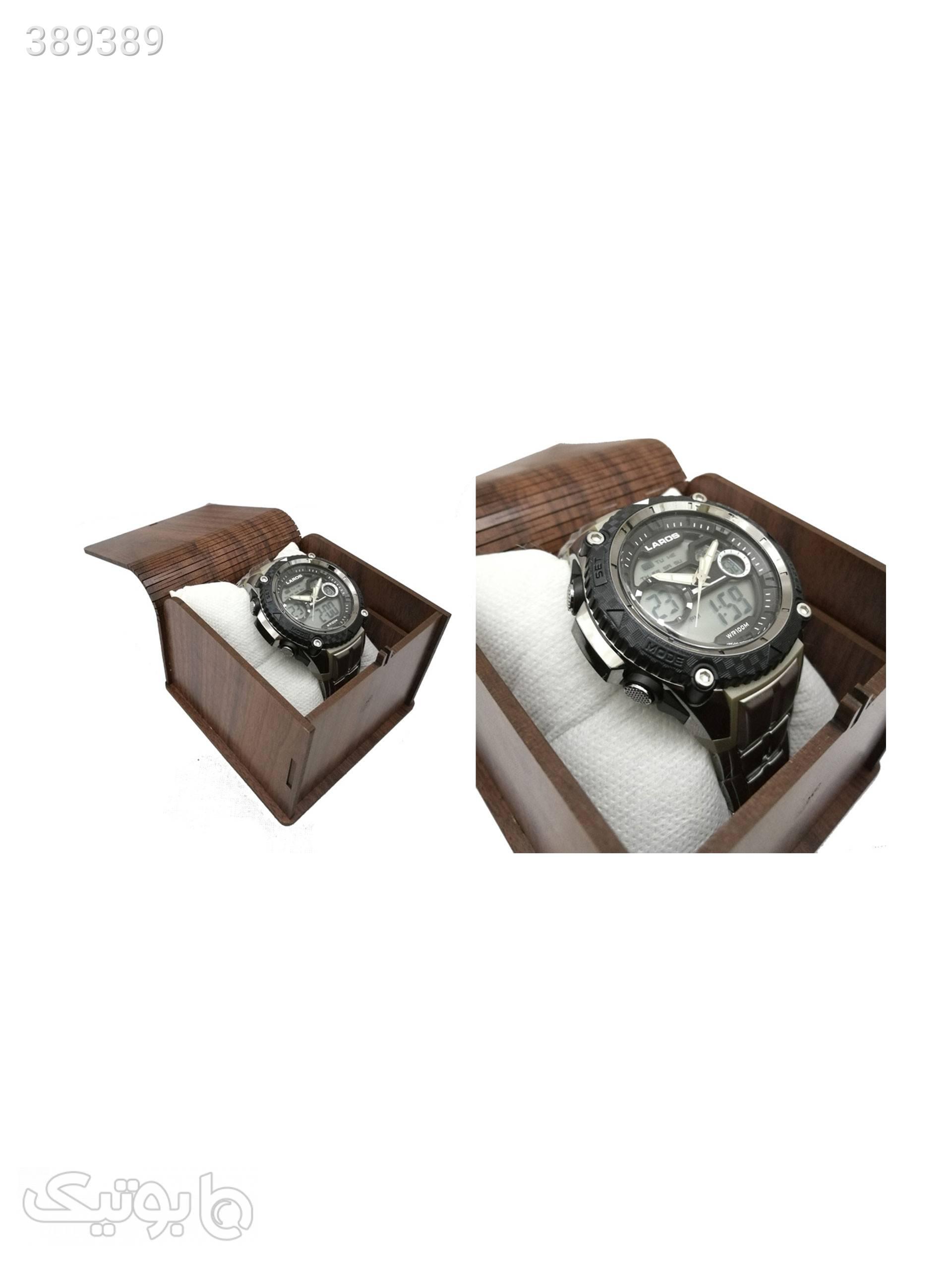 ساعت مچی عقربه ای دیجیتال لاروس مدل0317-ad1146 نقره ای ساعت