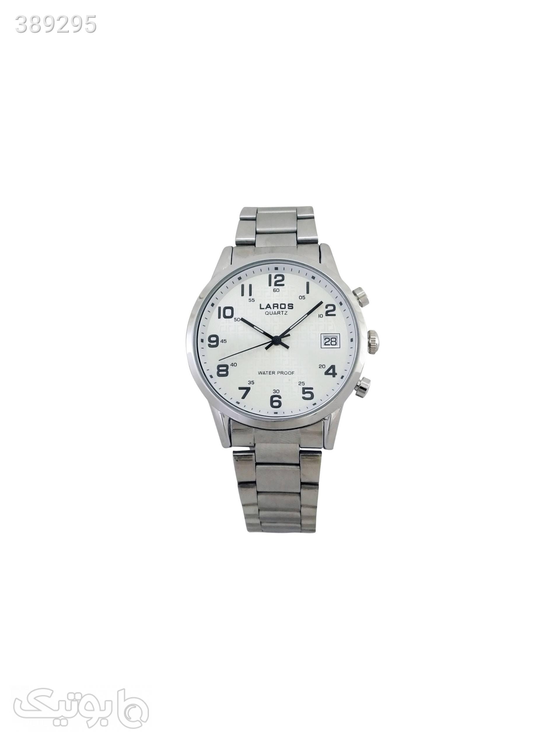 ساعت مچی عقربه ای مردانه لاروس مدل 0917-80095-d به همراه دستمال مخصوص برند کلین واچ نقره ای ساعت