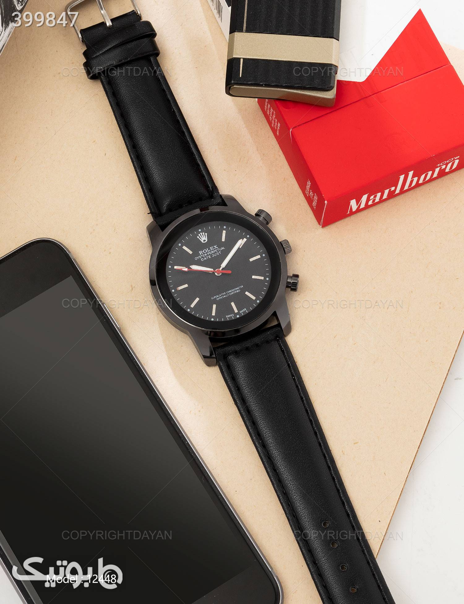 ساعت مچی مردانه Rolex مدل W2448 مشکی ساعت