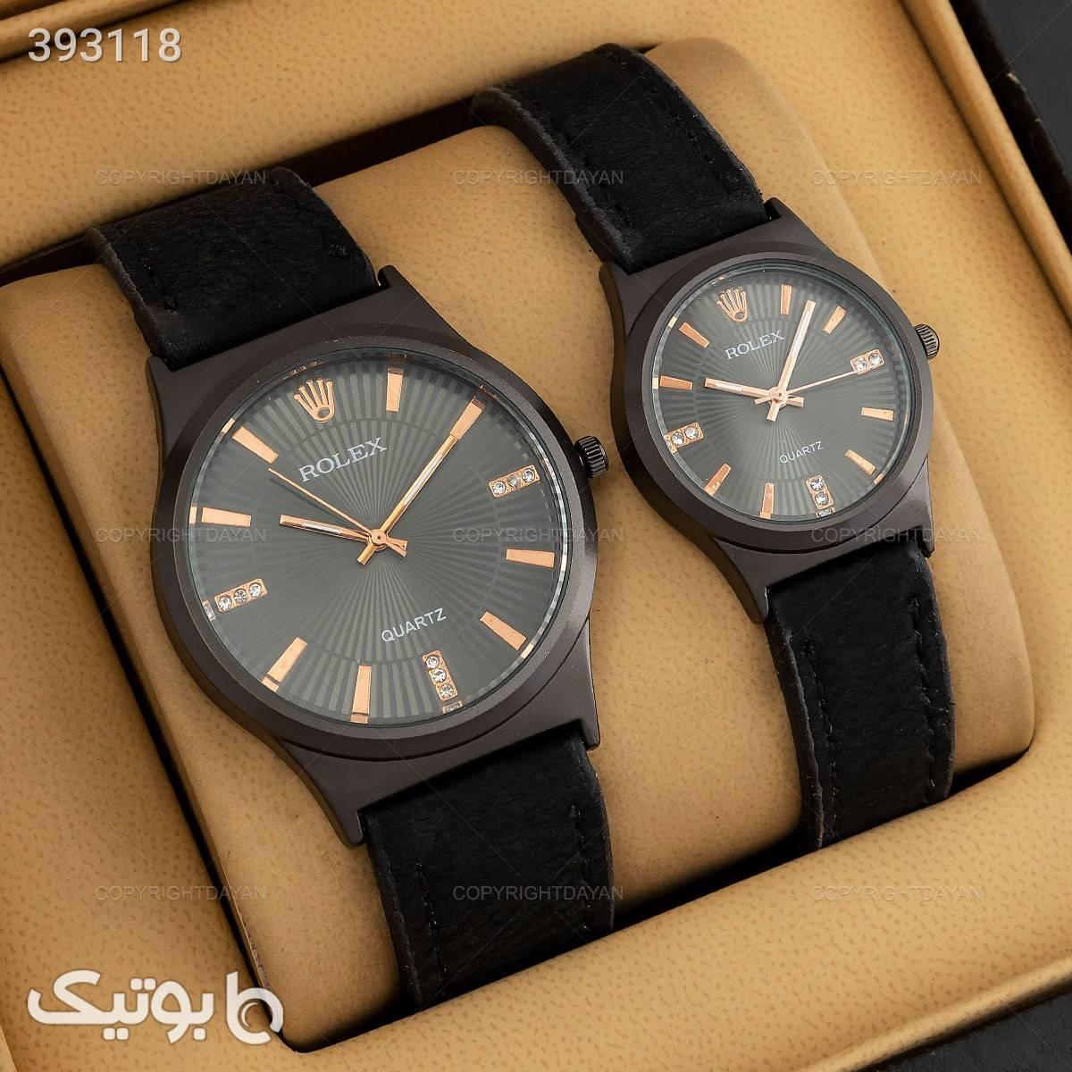 ست ساعت مردانه و زنانه رولکس مشکی ساعت