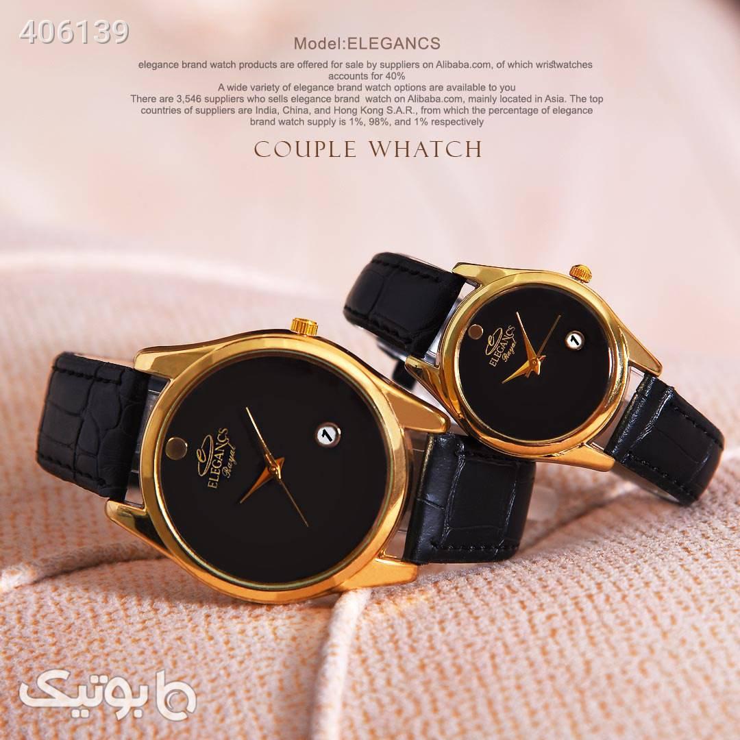 ست ساعت مردانه و زنانه elegancs مشکی ساعت