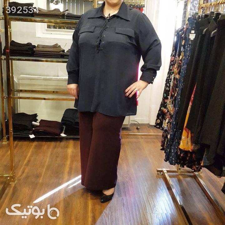 شومیز کرپ  مشکی سایز بزرگ زنانه