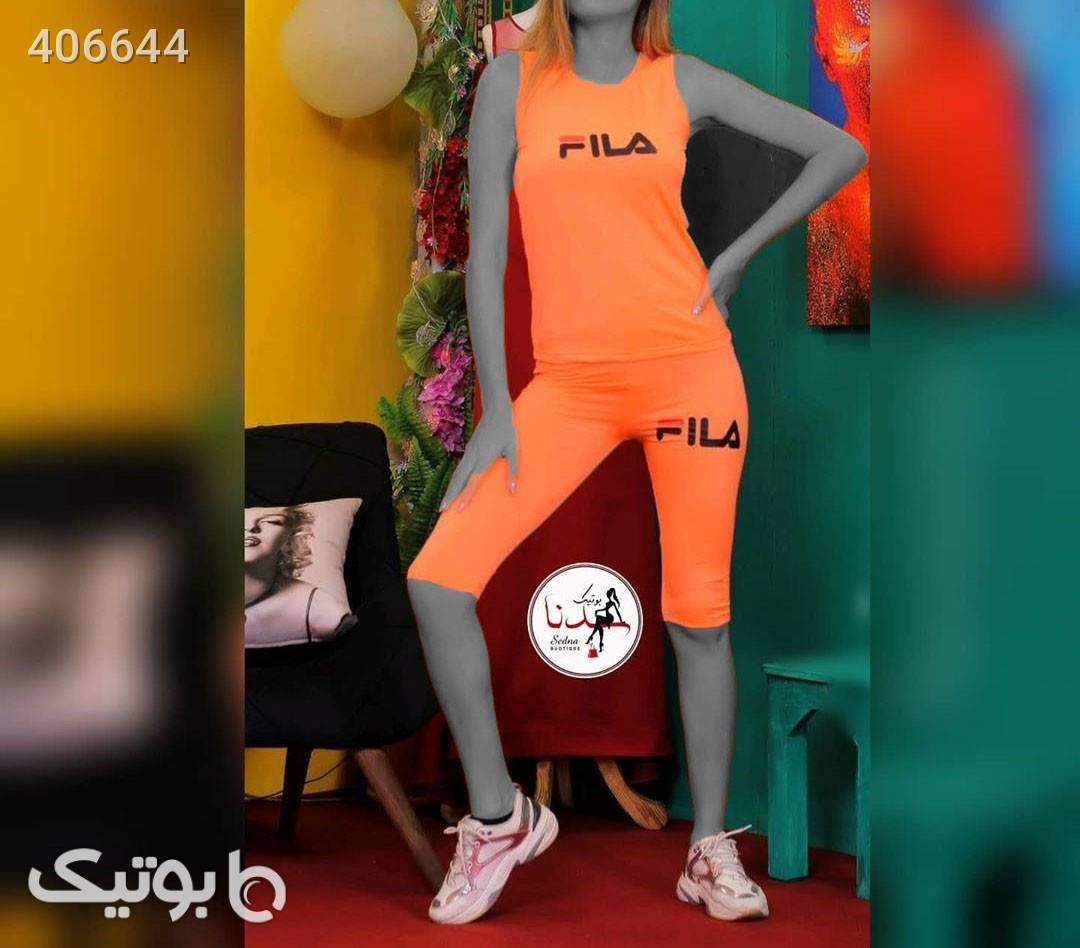 ست_تاپ_شلوارک_FILA نارنجی ست ورزشی زنانه