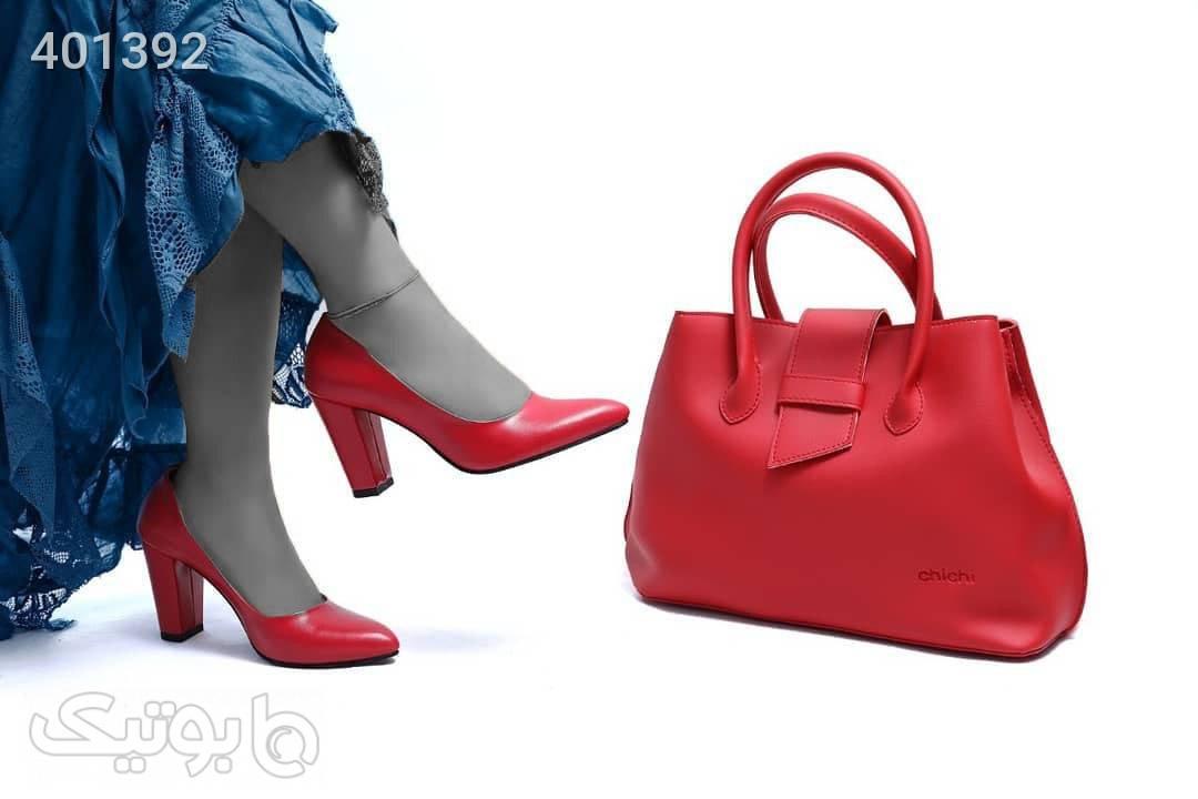 کفش پاشنه ۸سانتی مدل ملیکا قرمز ست کیف و کفش زنانه