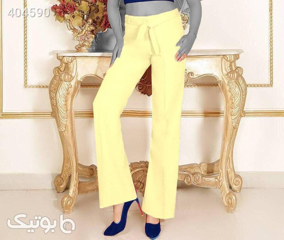 شلوار دمپا گشاد سایز بزرگ فوق العاده شیک زرد شلوار زنانه