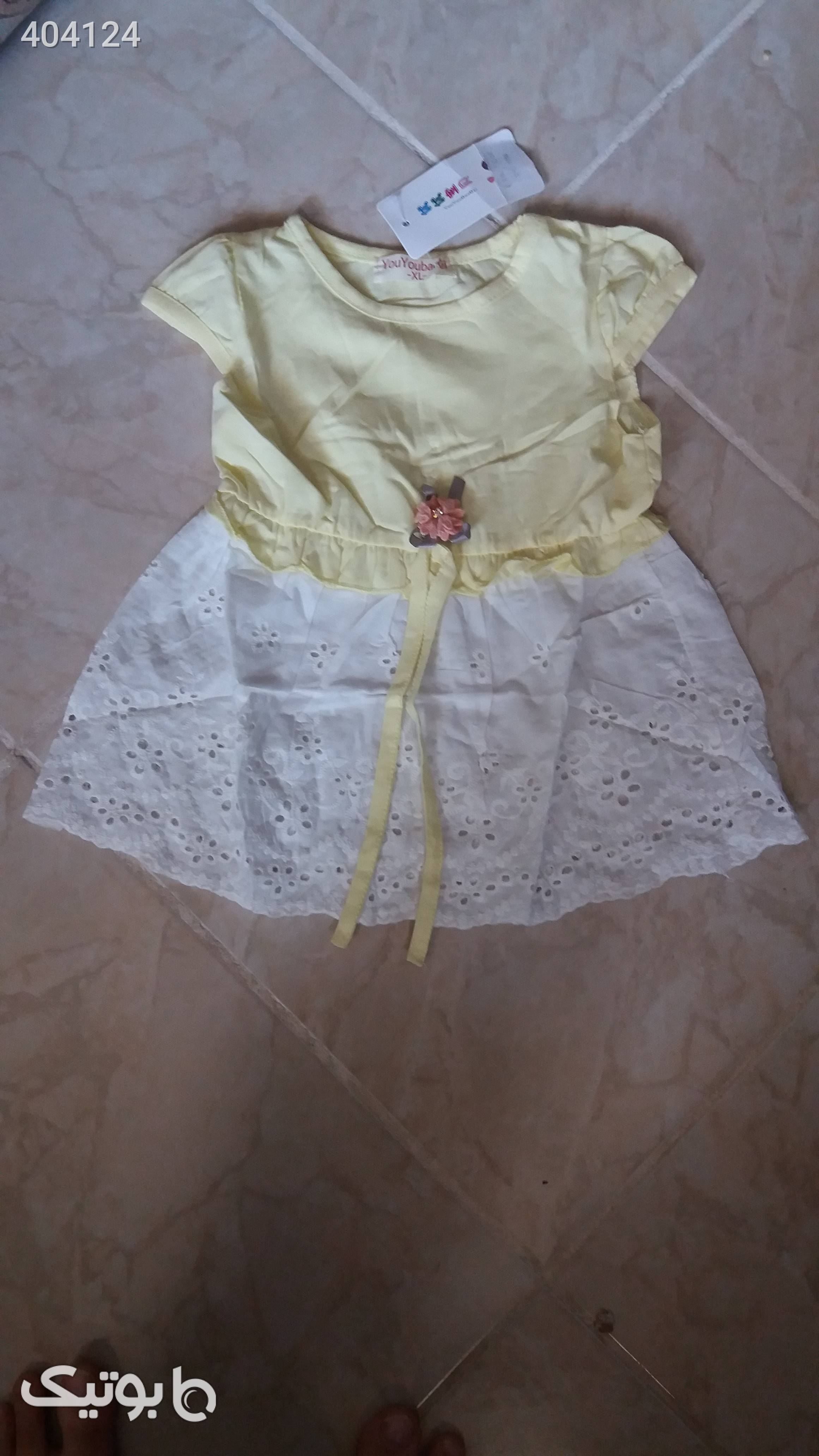 سارافون مجلسی دخترانه زرد لباس کودک دخترانه
