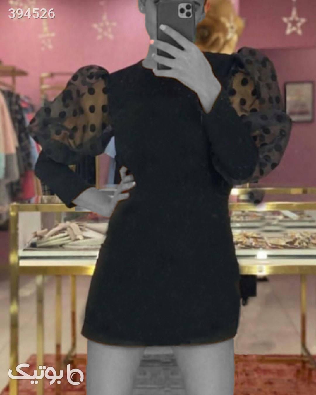 تونیک آستین پفی خالخالی کرم لباس  مجلسی