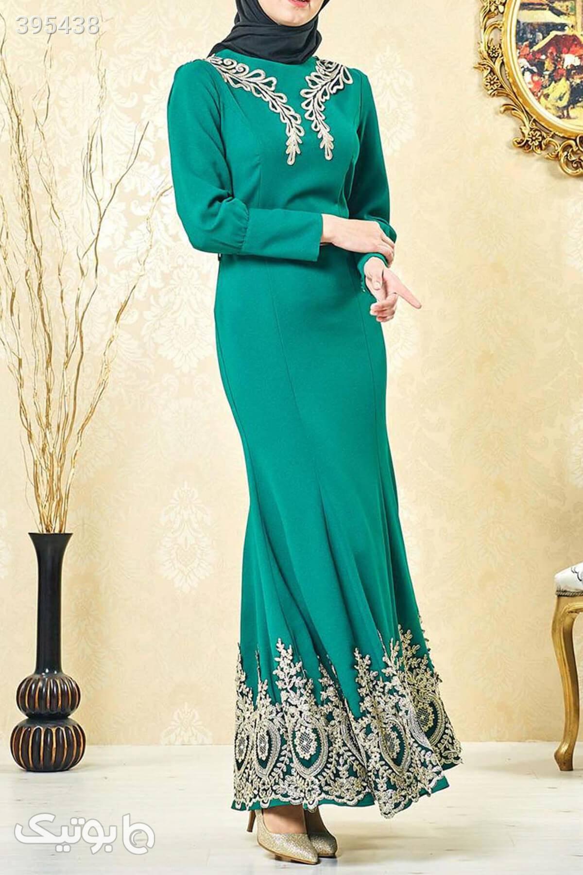 لباس مجلسی پوشیده زنانه سبز پیراهن شب 15822194 Lady Nur فیروزه ای لباس  مجلسی