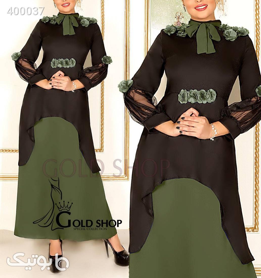 مانتو پیراهن مدل شهرزاد سبز لباس  مجلسی