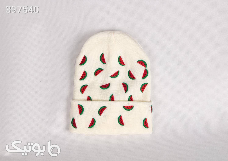 کلاه کاموایی طرح هندوانه سفید کلاه بافت و شال گردن و دستکش