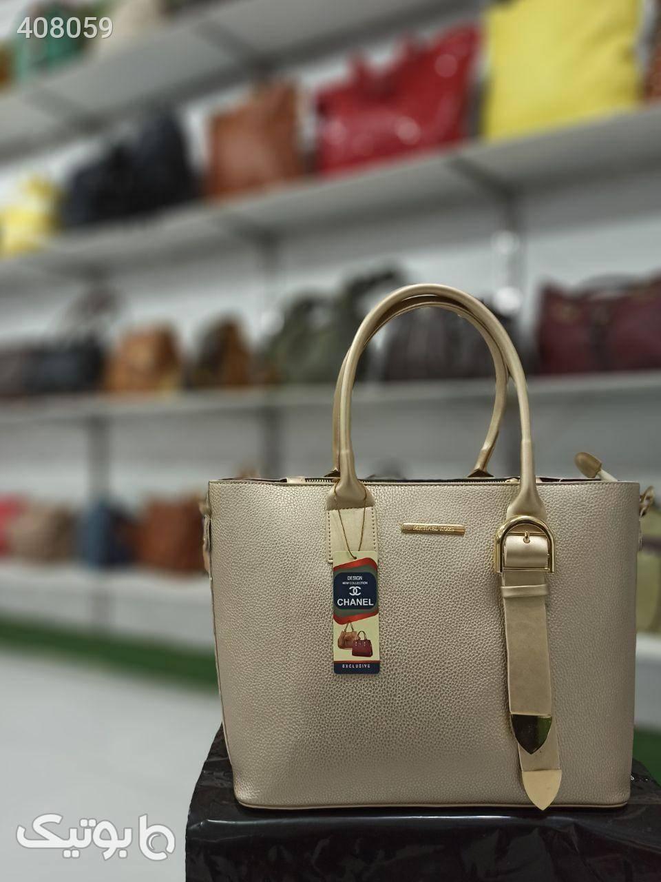 کیف آکبند زنانهی دستی دو تکه سایز بزرگ کرم كيف زنانه