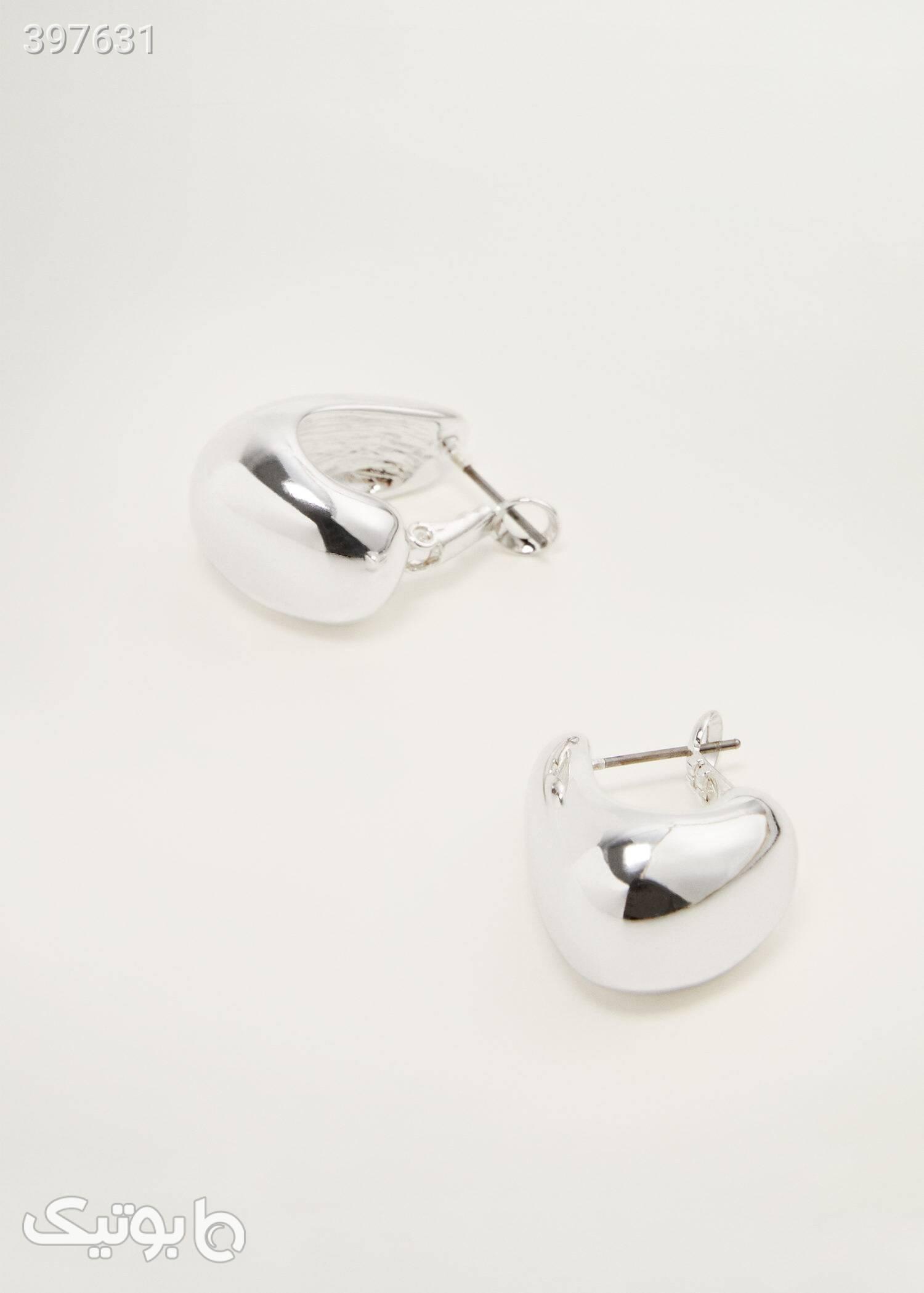 گوشواره حلقهای متالیک زنانه مانگو سفید گوشواره