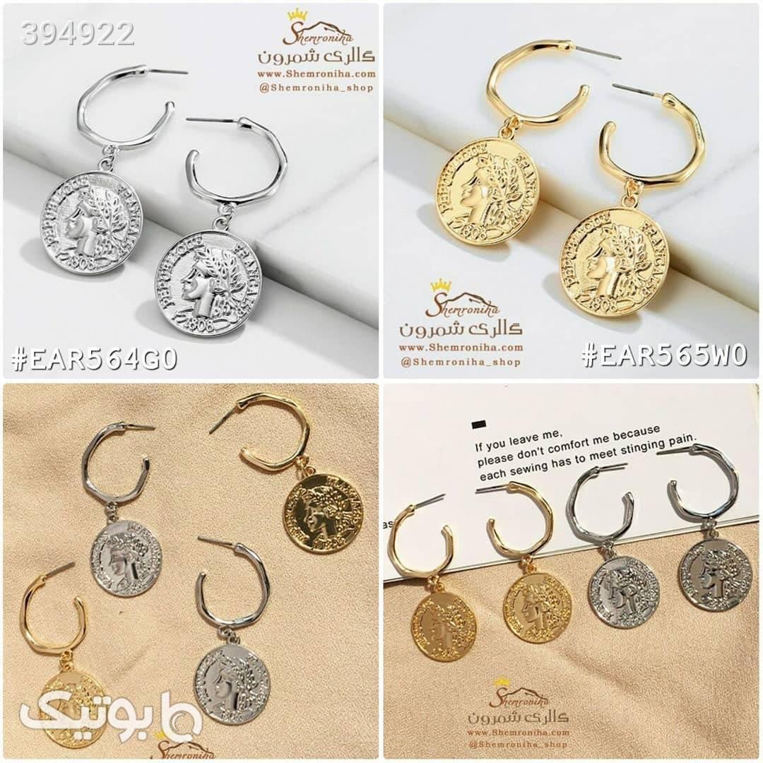 گوشواره مدل سکه ای ملکه نقره ای گوشواره