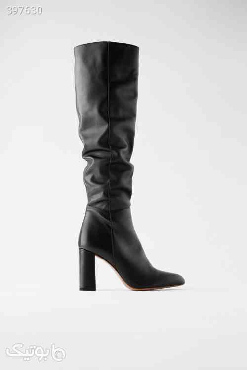 بوت مشکی چرم ساق بلند زارا Zara مشکی 98 2020