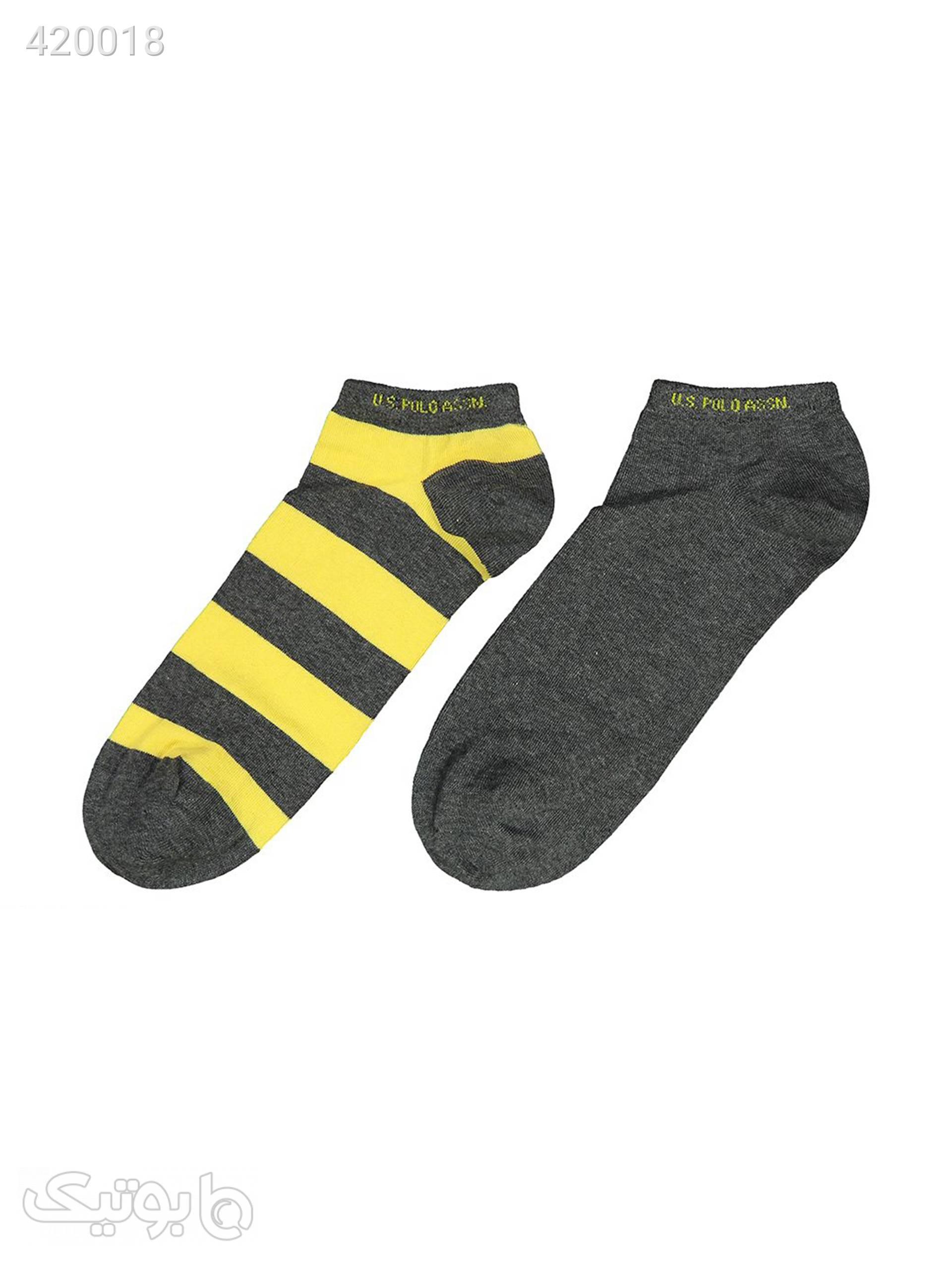 جوراب مردانه یو اس پولو کد 1 بسته 2 عددی  طوسی جوراب و پاپوش