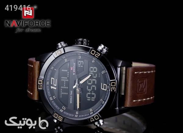 ساعت مچی ناوی فورس NAVIFORCE مدل NF9128M کیس مشکی بند قهوه ای قهوه ای ساعت
