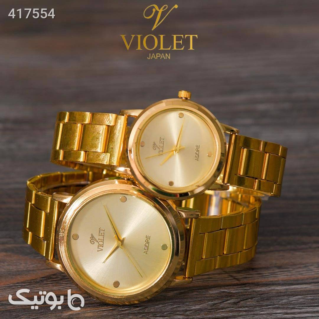ست ساعت مردانه و زنانه violet طلایی ساعت