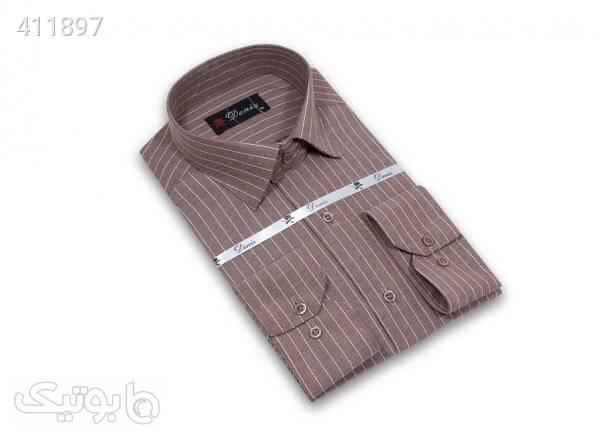 پیراهن مردانه راه راه سایز بزرگ دنیز Deniz کد 507 رنگ قهوه ای قهوه ای سایز بزرگ مردانه