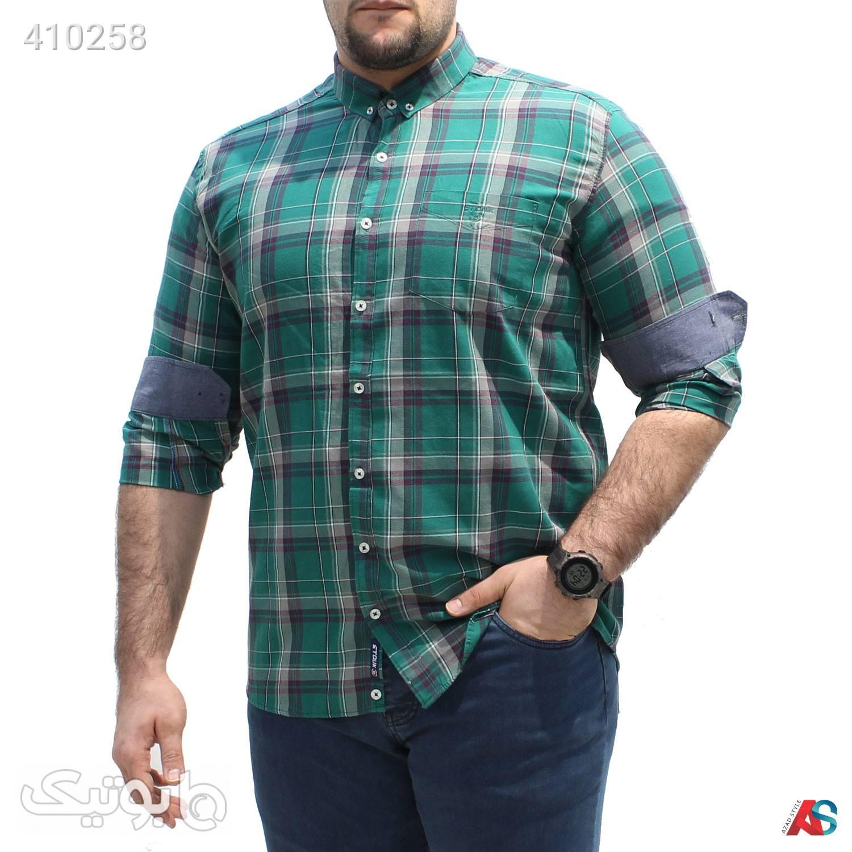 پیراهن چهارخانه سایز بزرگ کد محصولZKM112 سبز سایز بزرگ مردانه