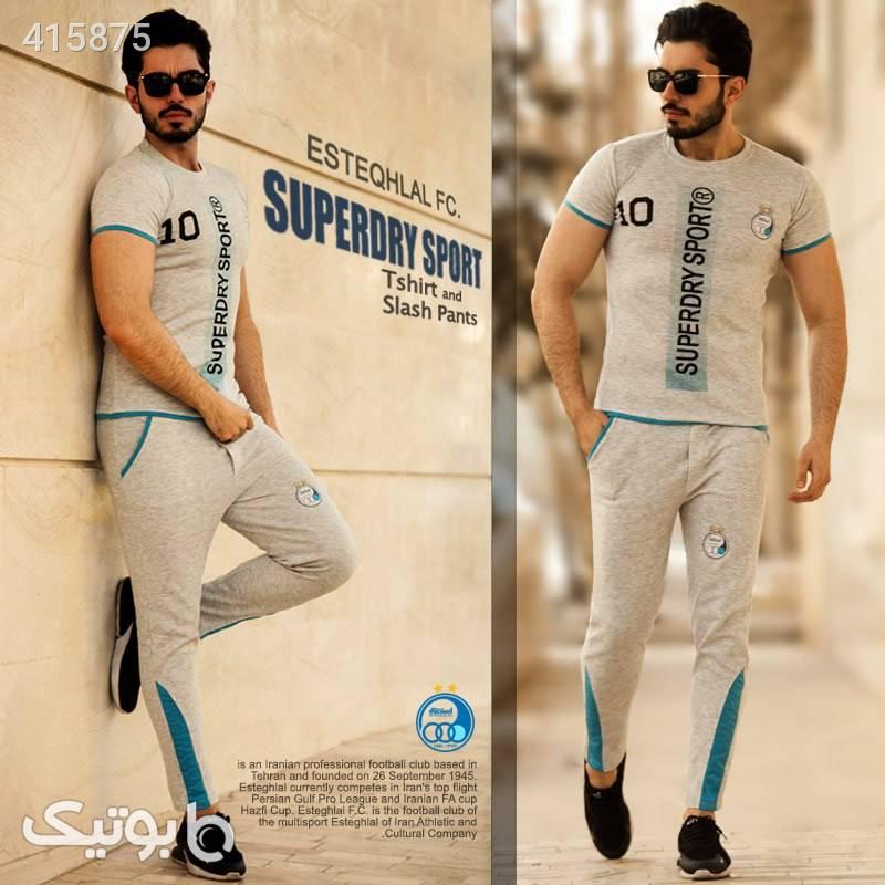 ست تیشرت وشلوار استقلال مدل Superdry سفید ست ورزشی مردانه