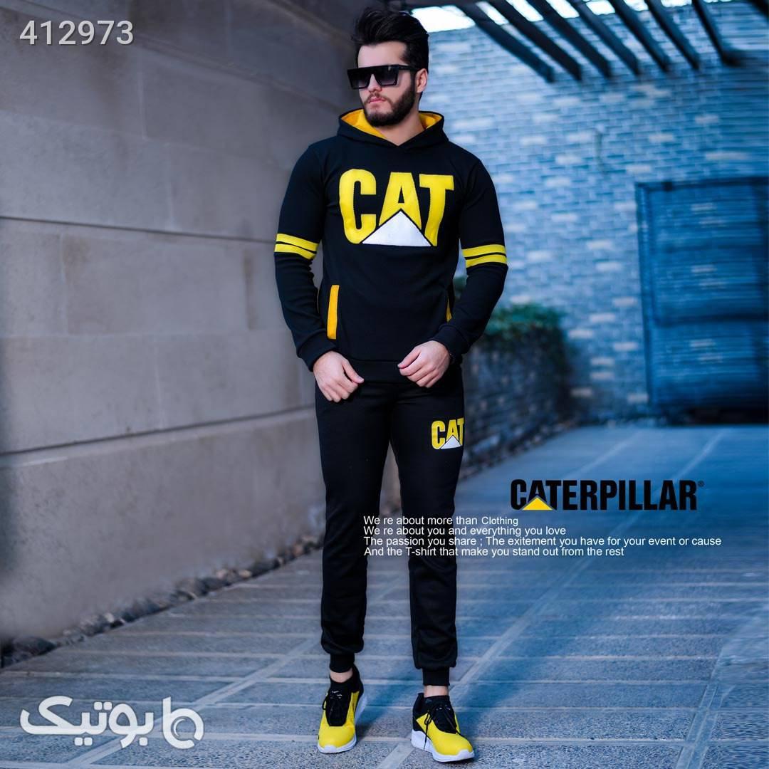 ست سوئیشرت و شلوار cat مشکی ست ورزشی مردانه