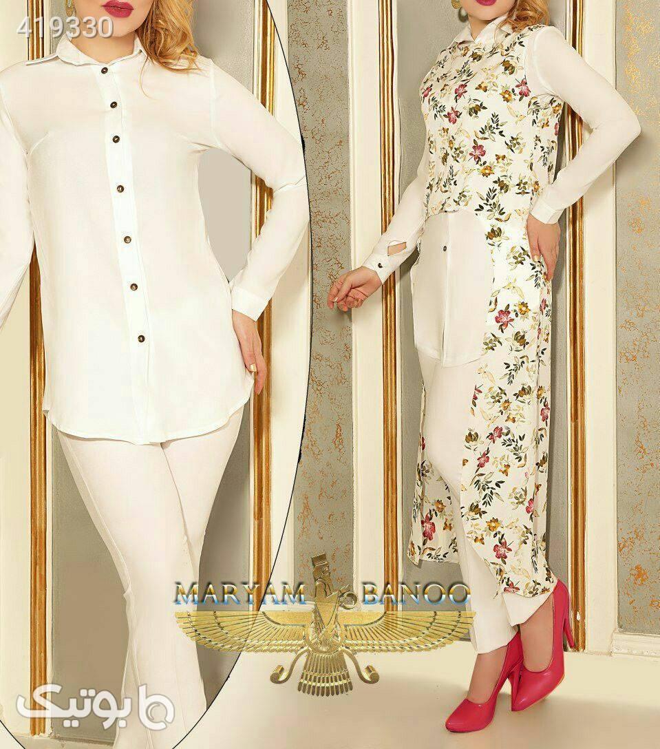 شومیز و شلوار و سارافن مدل یلدا شیک سفید شومیز