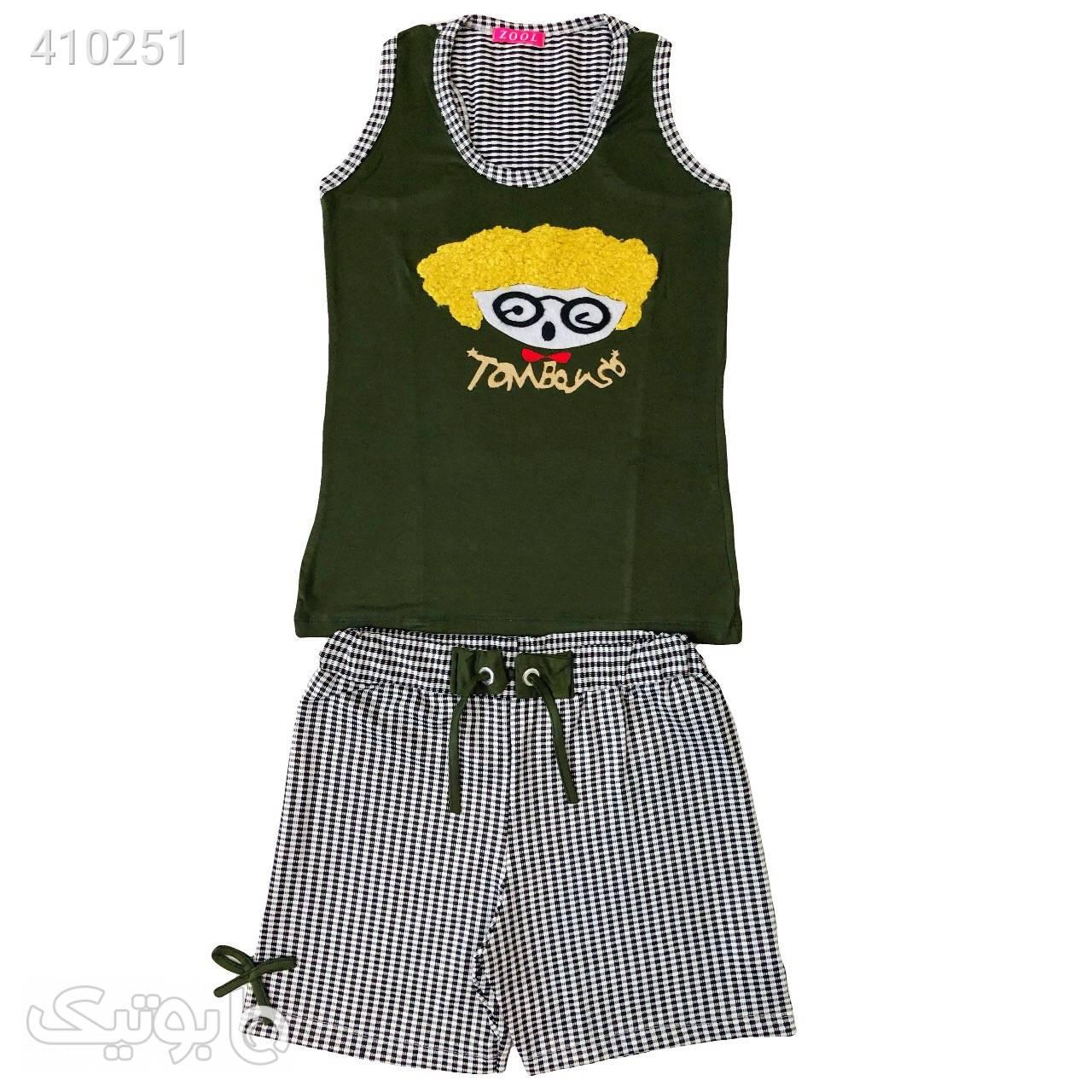 تاپ شورتک سیس تیین سبز یشمی ۳ طوسی لباس راحتی زنانه
