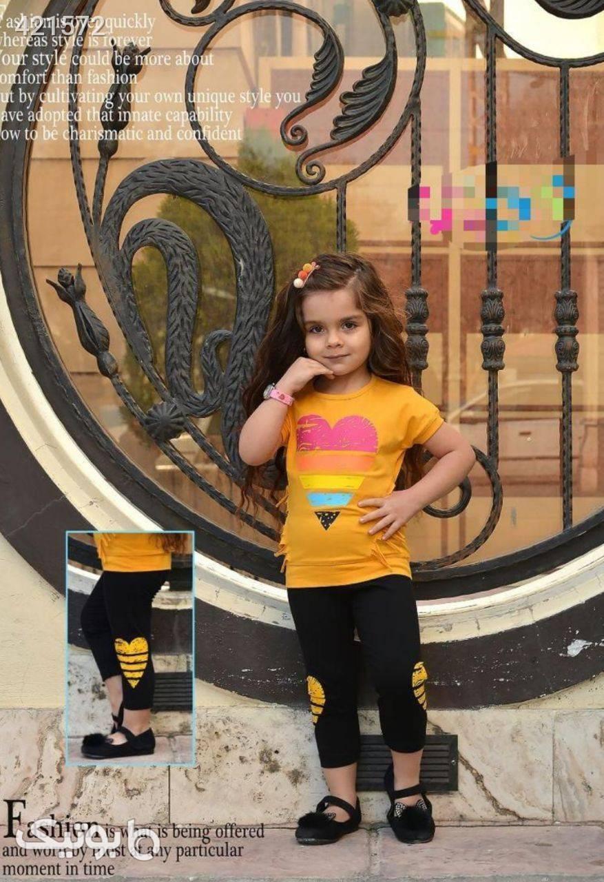 ست قلب دخترانه زرد لباس کودک دخترانه