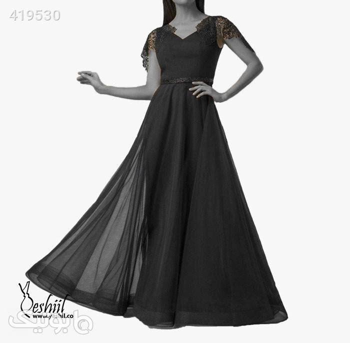 پیراهن بلند دامن پفی کد ۰۱-۸۴۰ مشکی لباس  مجلسی