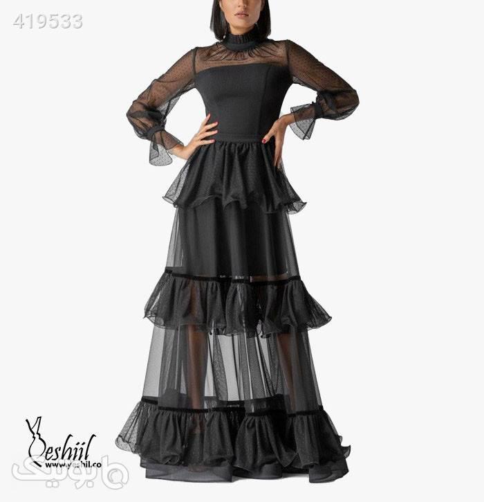 پیراهن بلند کد ۰۱-۵۸۷ مشکی لباس  مجلسی