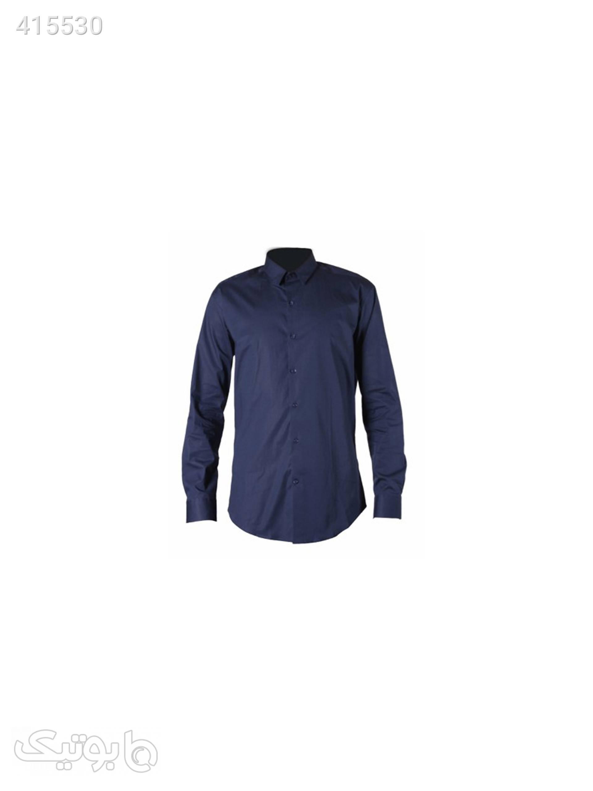 پیراهن مردانه پوپلین سرمه ای سورمه ای پيراهن مردانه