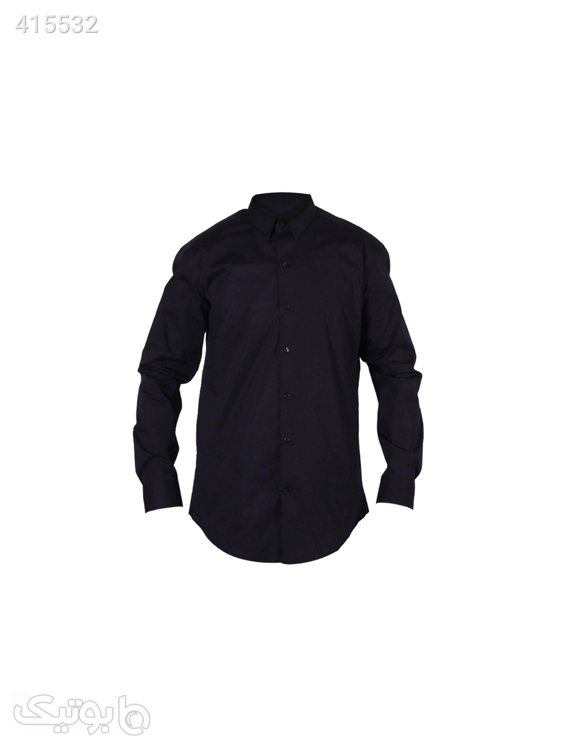 پیراهن مردانه پوپلین مشکی مشکی پيراهن مردانه