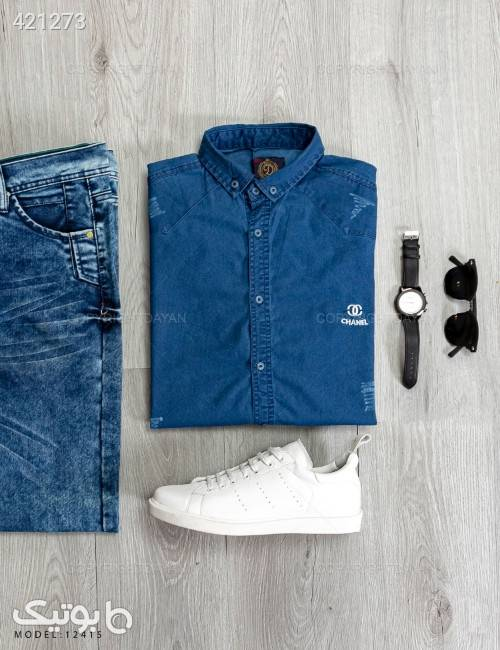 پیراهن مردانه Chanel مدل P2415 سورمه ای پيراهن مردانه