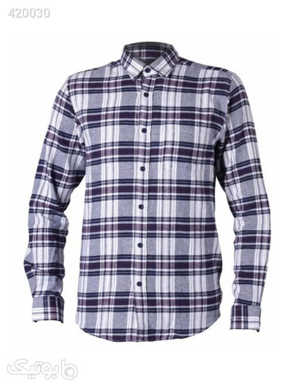 پیراهن پشمی مردانه کد EL-108 سورمه ای پيراهن مردانه