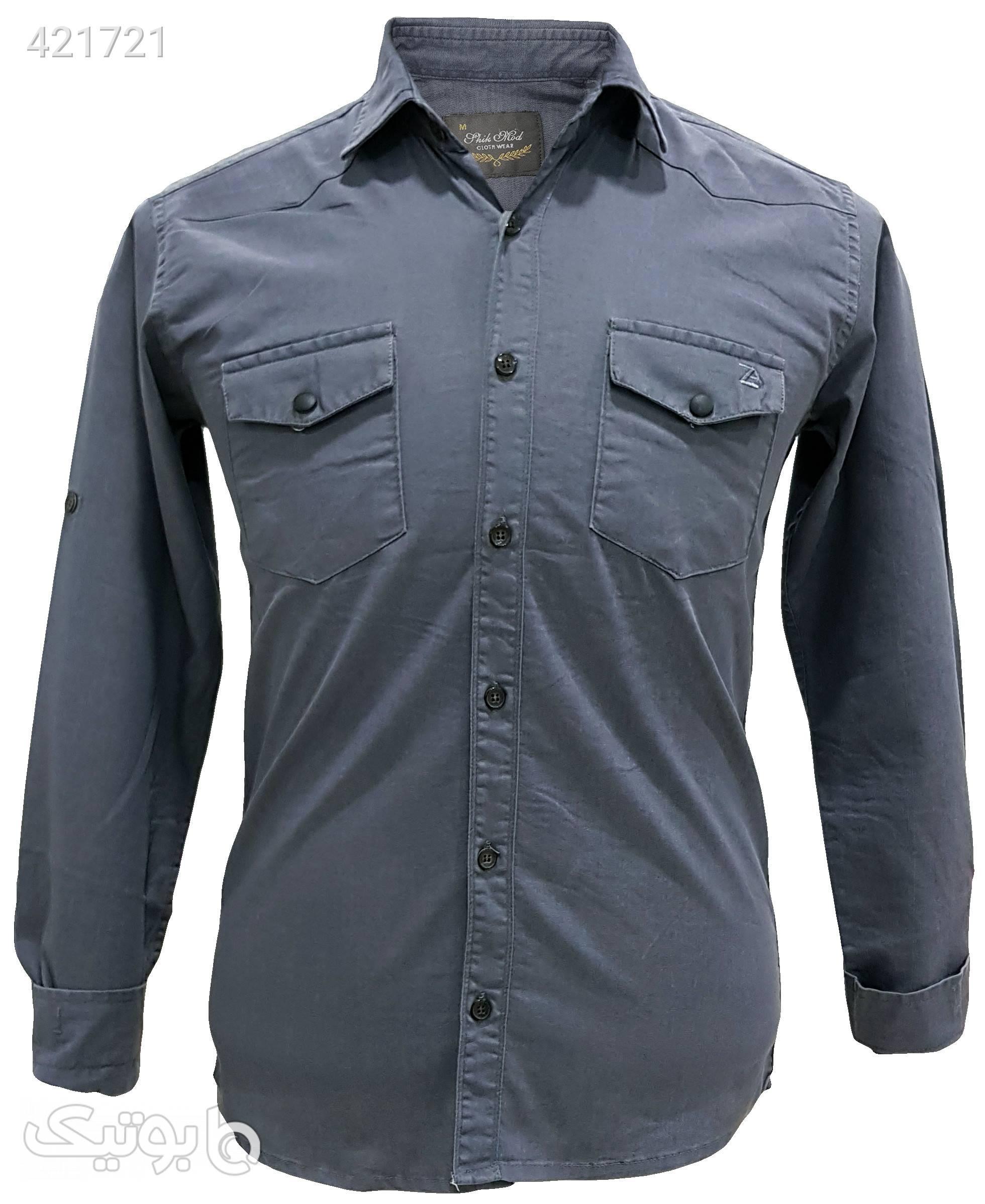 پیراهن کتان دو جیب طوسی پيراهن مردانه